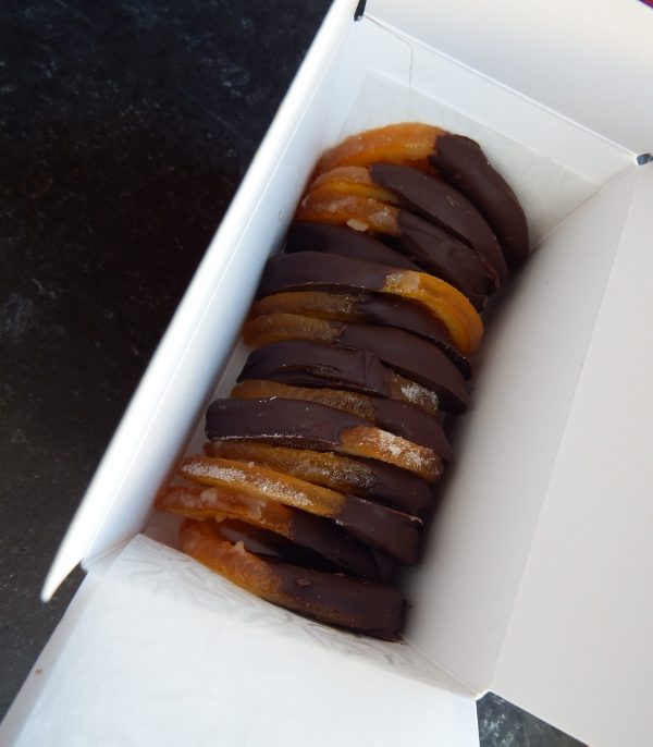 candied oranges in box