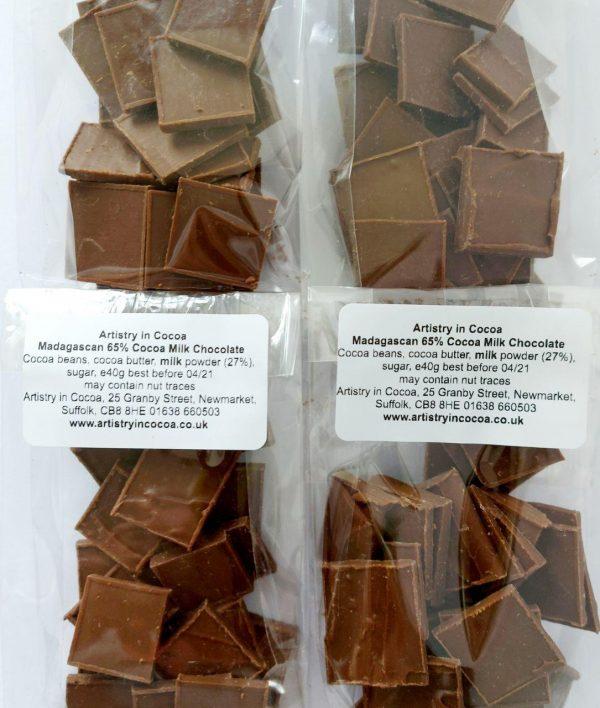 65% milk madagascan chocolate, bagged