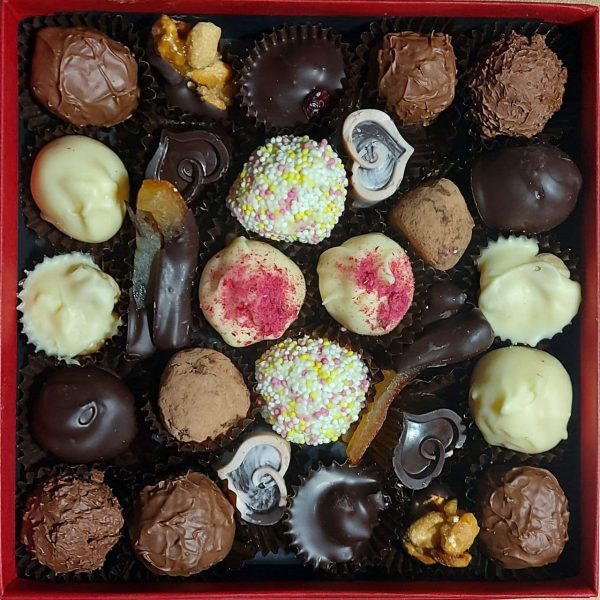 Selection box of white, dark and milk chocolates